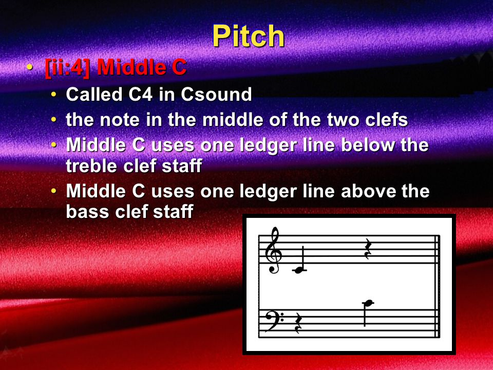 Pitch [ii:4] Middle C Called C4 in Csound